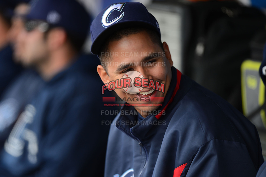 Columbus Clippers pitcher Carlos Carrasco #44 in the dugout during a game against the Rochester Red Wings on May 12, 2013 at Frontier Field in Rochester, New York.  Rochester defeated Columbus 5-4.  (Mike Janes/Four Seam Images)
