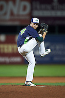 Vermont Lake Monsters pitcher Andrew Tomasovich (44) delivers a pitch during a game against the Hudson Valley Renegades on September 3, 2015 at Centennial Field in Burlington, Vermont.  Vermont defeated Hudson Valley 4-1.  (Mike Janes/Four Seam Images)