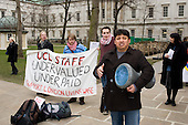 Juan Carlos Piedra Benitez, who was sacked from his job at University College London by  cleaning contractor Office & General following his involvement in a trade union campaign for improved pay and conditions, at a demonstration at UCL organised by the college's London Living Wage Campaign.