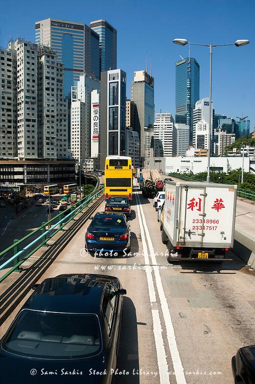 Traffic jam on a toll highway between Aberdeen and Admiralty, Hong Kong Island, Hong Kong, China.