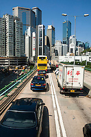 Traffic jam on a toll highway between Aberdeen and Admiralty, Hong Kong Island, Hong Kong, China.