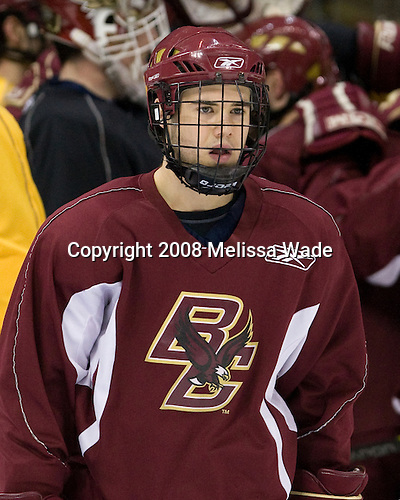 Dan Bertram (BC 22) - The Boston College Eagles practiced on Friday, April 11, 2008, at the Pepsi Center in Denver, Colorado, in preparation for the 2008 Frozen Four Final (NCAA D1 national hockey championship game) being played the following day.  Boston College had made the Final for the third year in a row.