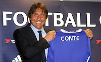 LONDON, ENGLAND - JULY 14: Chelsea unveils new manager Antonio Conte at his first press conference at their Stamford Bridge Ground on July 14th, 2016 in London, England.<br /> CAP/DS<br /> &copy;DS/Capital Pictures /MediaPunch ***NORTH AND SOUTH AMERICAS ONLY***