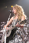 "Taylor Swift performs during the second leg of her ""Fearless Tour"" in Fresno, California, on April 10, 2010."