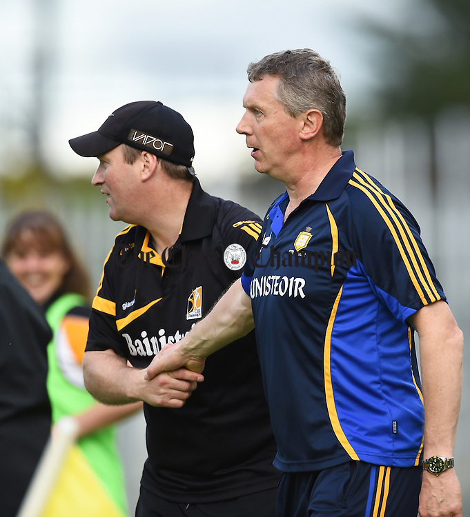 Pat O Grady, Kilkenny manager and Donal Moloney, Clare manager, shake hands following their Intermediate All-Ireland final against Kilkenny at Thurles. Photograph by John Kelly.