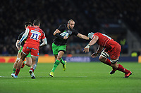 Ross Chisholm of Harlequins hands off Sam Lewis of Leicester Tigers during Big Game 12 in the Gallagher Premiership Rugby match between Harlequins and Leicester Tigers at Twickenham Stadium on Saturday 28th December 2019 (Photo by Rob Munro/Stewart Communications)