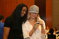 15 December 2006: Stanford Cardinal Foluke Akinradewo and Kristin Richards, Third Team member, during Stanford's 2006 American Volleyball Coaches Association (AVCA) Division I All-American Teams Award Banquet at the Qwest Center in Omaha, NE.