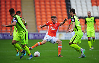 Blackpool's Jim McAlister under pressure from Exeter City's Ryan Harley<br /> <br /> Photographer Kevin Barnes/CameraSport<br /> <br /> Football - The EFL Sky Bet League Two - Blackpool v Exeter City - Saturday 6th August 2016 - Bloomfield Road - Blackpool<br /> <br /> World Copyright &copy; 2016 CameraSport. All rights reserved. 43 Linden Ave. Countesthorpe. Leicester. England. LE8 5PG - Tel: +44 (0) 116 277 4147 - admin@camerasport.com - www.camerasport.com