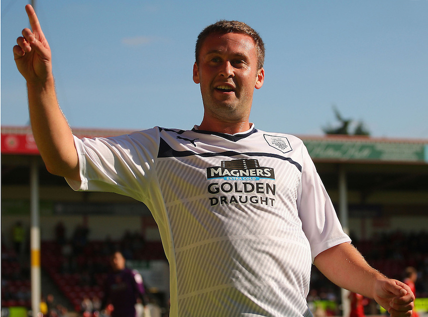 Preston North End's Joel Byrom celebrates scoring his sides first goal ..Football - npower Football League Division One - Walsall v Preston North End - Saturday 22nd September 2012 - Banks's Stadium - Walsall..