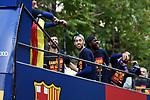 League Santander 2017/2018.<br /> Rua de Campions FC Barcelona.<br /> Sergio Busquets, Samuel Umtiti &amp; Luis Suarez.