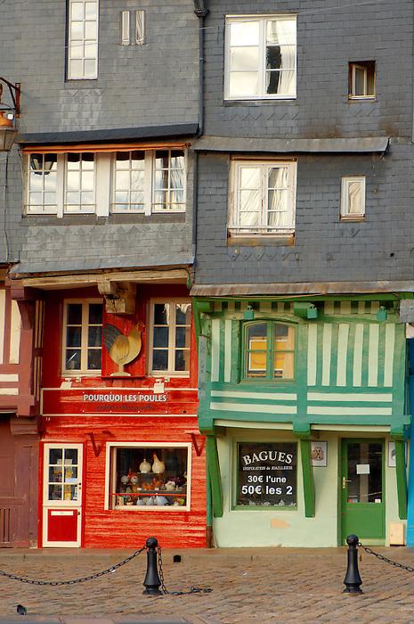 Harbour side restauarants and shops. Honfleur, Normandy, France.