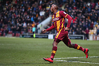 Dominic Poleon of Bradford City celebrates scoring the third goal for Bradford City during the Sky Bet League 1 match between Bradford City and Rochdale at the Northern Commercial Stadium, Bradford, England on 9 December 2017. Photo by Thomas Gadd.