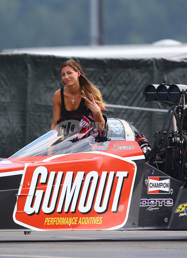 Feb 7, 2015; Pomona, CA, USA; NHRA top fuel driver Leah Pritchett during qualifying for the Winternationals at Auto Club Raceway at Pomona. Mandatory Credit: Mark J. Rebilas-