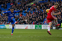 Loic Damour of Cardiff City shoots at goal during the Sky Bet Championship match between Cardiff City and Middlesbrough at the Cardiff City Stadium, Cardiff, Wales on 17 February 2018. Photo by Mark Hawkins / PRiME Media Images.
