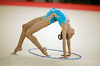Martina Alicata of Italy finishes her hoop routine in junior All-Around competition at 2006 Trofeo Cariprato in Prato, Italy on June 17, 2006.  (Photo by Tom Theobald)