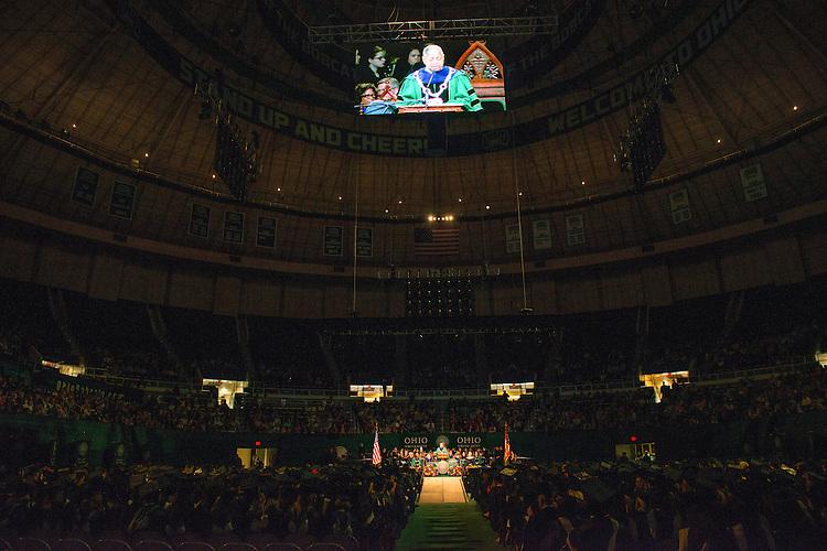 President McDavis speaks at graduate commencement.  Photo by Ben Siegel