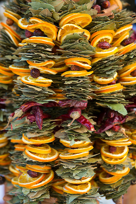 Arrangements made from peppers, oranges and bay leaves are being sold at the main square in Bratislava, the capital of Slovakia.