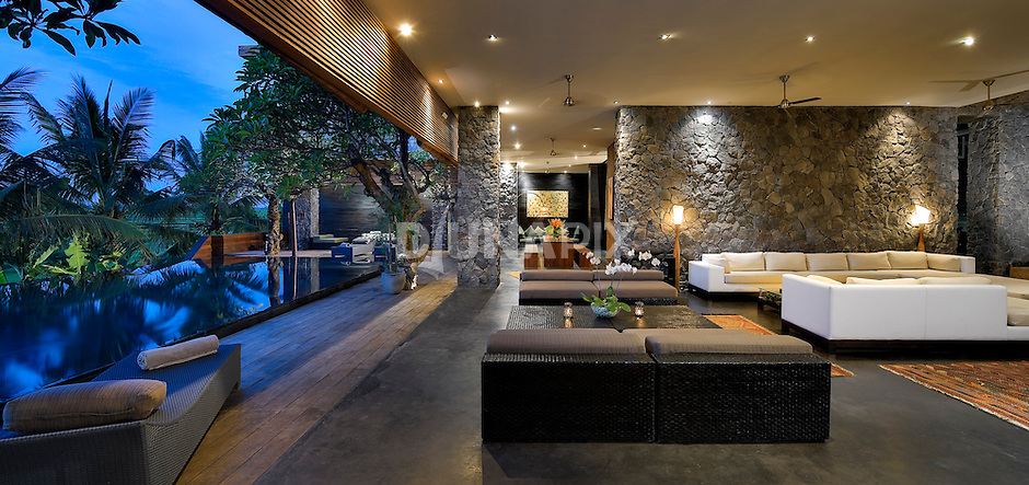 Modern lounging area at a luxury villa in Canggu, Bali