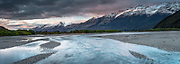 Sunrise on Humboldt Mountains with Rees River near Glenorchy, Mt. Aspiring National Park, Central Otago, New Zealand, NZ