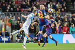 Fernando Navarro of Deportivo La Coruna (L) fights for position with Aleix Vidal of FC Barcelona (R) during the La Liga 2017-18 match between FC Barcelona and Deportivo La Coruna at Camp Nou Stadium on 17 December 2017 in Barcelona, Spain. Photo by Vicens Gimenez / Power Sport Images