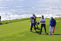 Green Bay Packers NFL quarterback Aaron Rodgers walks off the 8th tee at Pebble Beach Golf Links during Saturday's Round 3 of the 2017 AT&amp;T Pebble Beach Pro-Am held over 3 courses, Pebble Beach, Spyglass Hill and Monterey Penninsula Country Club, Monterey, California, USA. 11th February 2017.<br /> Picture: Eoin Clarke | Golffile<br /> <br /> <br /> All photos usage must carry mandatory copyright credit (&copy; Golffile | Eoin Clarke)