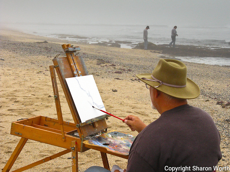 Edwin Bertolet (www.ebertolet.com), a plein air artist, paints while others explore the tide pools.
