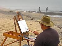 Edwin Bertolet (www.ebertolet.com), a plein air artist, paints while others explore the tide pools.