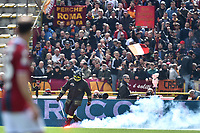 Fumogeno tirato dai tifosi della Roma . A Fireworker extinguish a smoke bomb threw  from AS Roma supporters <br /> Bologna 31-03-2018 Stadio Dall'Ara Football Calcio Serie A 2017/2018 Bologna - AS Roma. Foto Andrea Staccioli / Insidefoto