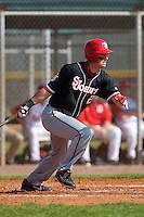 Joe Panik #2 of the St. John's Red Storm during a game vs the Ohio State Buckeyes at the Big East-Big Ten Challenge at Walter Fuller Complex in St. Petersburg, Florida;  February 20, 2011.  Ohio State defeated St. John's 8-7 in 11 innings.  Photo By Mike Janes/Four Seam Images