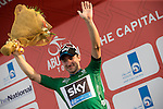 Elia Viviani (ITA) Team Sky takes over the Green Points Jersey on the podium at the end of Stage 2, The Capital Stage, of the 2015 Abu Dhabi Tour running 129 km from Yas Marina Circuit to Yas Mall, Abu Dhabi. 9th October 2015.<br /> Picture: ANSA/Claudio Peri | Newsfile