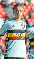 20171024 - PENAFIEL , PORTUGAL :  Belgian Julie Biesmans pictured during a women's soccer game between Portugal and the Belgian Red Flames , on tuesday 24 October 2017 at Estádio Municipal 25 de Abril in Penafiel. This is the third game for the  Red Flames during the Worldcup 2019 France qualification in group 6. PHOTO SPORTPIX.BE | DAVID CATRY