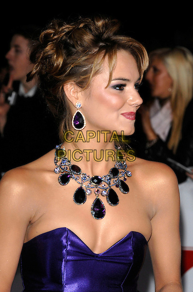 KARA TOINTON.National Television Awards 2007.Royal Albert Hall.31st October 2007 London, England.portrait headshot blue purple stone necklae strapless earrings jewels.CAP/PL.©Phil Loftus/Capital Pictures