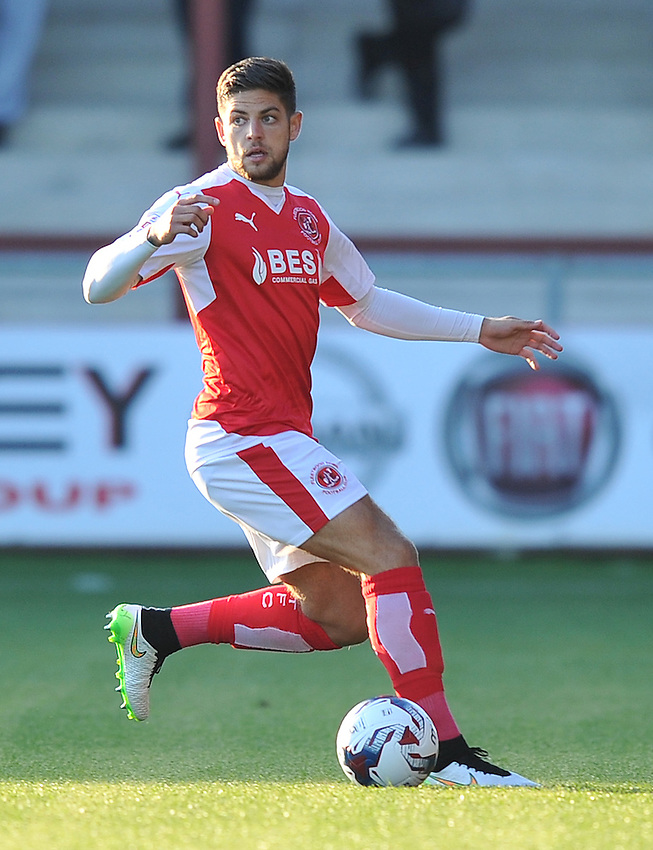 Fleetwood Town's Danny Andrew<br /> <br /> Photographer Dave Howarth/CameraSport<br /> <br /> Football - Capital One Cup First Round - Fleetwood Town v Hartlepool United - Tuesday 11th August 2015 - Highbury Stadium - Fleetwood<br />  <br /> &copy; CameraSport - 43 Linden Ave. Countesthorpe. Leicester. England. LE8 5PG - Tel: +44 (0) 116 277 4147 - admin@camerasport.com - www.camerasport.com