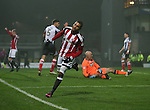 Leon Clarke of Sheffield Utd celebrates his second goal during the Checkatrade Trophy match at Blundell Park Stadium, Grimsby. Picture date: November 9th, 2016. Pic Simon Bellis/Sportimage