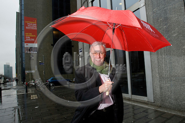 BRUSSELS - BELGIUM - 10 FEBRUARY 2009 --  John MONKS, General Secretary, ETUC (European Trade Union Confederation) posing for a picture in the centre of Brussels after talks about the future in connection with the financial crisis.  Photo: Erik Luntang/EUP-IMAGES