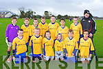SOCCER: The Killorglin FC team who played St Brendan's Park at Christy Leahy park, Tralee on Saturday front l-r:Jack Healy, Loughlin Griffin, Keith Evans, Owen Foley, Lukas Laurintis and Oisin Palmer. Back l-r: Jack McGullcuddy, Cillian Foley, Jack O'Sullivan, Darragh O'Grady, Ryan O'Neill, Alex Shin-O'Hara, Liam Piggott and Batty Foley (manager).