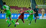 Xherdan Shaqiri of Bayern Munich and Vasco Da Gama's Fagner of VfL Wolfsburg in action during a friendly match as part of the Audi Football Summit 2012 on July 26, 2012 at the Guangdong Olympic Sports Center in Guangzhou, China. Photo by Victor Fraile / The Power of Sport Images