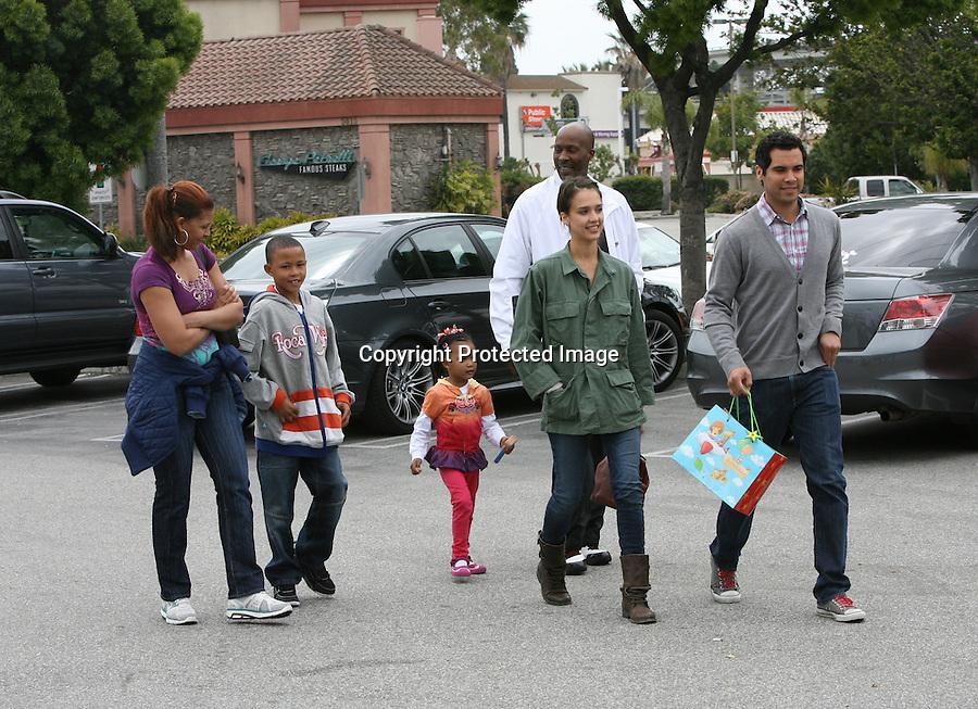 4-11-2010..Jessica Alba & Cash Warren leaving the George Petrelli steak house restaurant in Los Angeles California.  The couple also went baby shopping next door. ...AbilityFilms@yahoo.com.805-427-3519.www.AbilityFilms.com