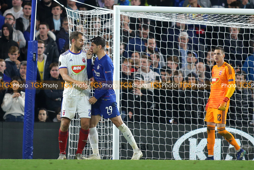 Alvaro Morata of Chelsea was not happy with Mol Vidi's Roland Juhasz after an off the ball incident during Chelsea vs MOL Vidi, UEFA Europa League Football at Stamford Bridge on 4th October 2018