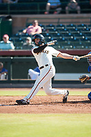Scottsdale Scorpions designated hitter Matt Winn (16), of the San Francisco Giants organization, follows through on his swing during an Arizona Fall League game against the Surprise Saguaros at Scottsdale Stadium on October 26, 2018 in Scottsdale, Arizona. Surprise defeated Scottsdale 3-1. (Zachary Lucy/Four Seam Images)