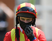 Jockey Charlie Price during Horse Racing at Salisbury Racecourse on 9th August 2020