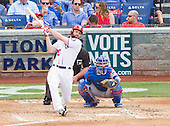 Washington Nationals second baseman Daniel Murphy (20) bats in the fourth inning against the Chicago Cubs at Nationals Park in Washington, D.C. on Wednesday, June 15, 2016.  The Nationals win the game in 12 innings 5 - 4.<br /> Credit: Ron Sachs / CNP