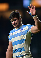 A teary Tomas Lavanini of Argentina waves to the crowd after the match. Rugby World Cup Semi Final between Argentina v Australia on October 25, 2015 at Twickenham Stadium in London, England. Photo by: Patrick Khachfe / Onside Images