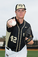 Paul Kirkpatrick (42) of the Wake Forest Demon Deacons poses for a photo prior to the game against the Miami Hurricanes at Wake Forest Baseball Park on March 22, 2015 in Winston-Salem, North Carolina. (Brian Westerholt/Four Seam Images)