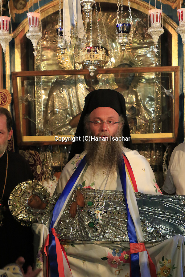 """Israel, Jerusalem, the Greek Orthodox Feast of the Assumption (Dormition), the icon of the Virgin Mary at the """"Metochion of Getsemane"""" opposite of the Church of the Holy Sepulchre"""