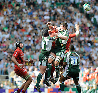 Twickenham, GREAT BRITAIN,  right, Exiles' Declan DANAHER jumping for the ball, during the Heineken, Semi Final, Cup Rugby Match,  London Irish vs Toulouse, at the Twickenham Stadium on Sat 26.04.2008 [Photo, Peter Spurrier/Intersport-images]