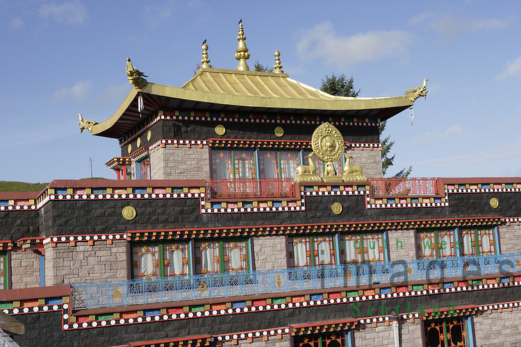 Samye Ling Monastry and Tibetan Centre Eskdalemuir near Langolm Dumfries and Galloway elaborate decoration outside off temple