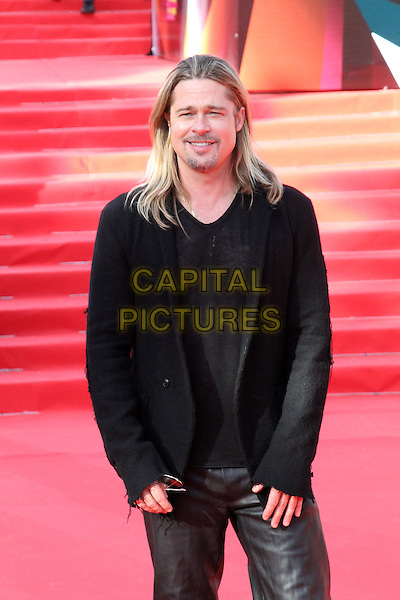 Brad Pitt <br /> The opening of the Moscow International Film Festival, Moscow, Russia.<br /> June 20th, 2013<br /> half length black top suit jacket goatee facial hair leather pants trousers jeans<br /> CAP/PER/LS<br /> &copy;LS/PersonaStars/CapitalPictures
