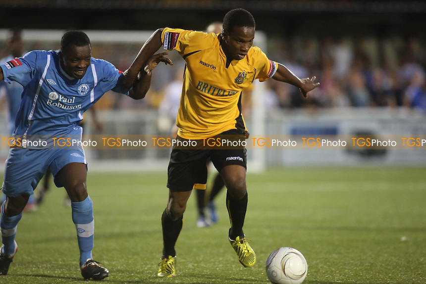 Orlando Smith of Maidstone tries to shake off a challenge - Maidstone United vs Billericay Town - Ryman League Premier Division Football at the Gallagher Stadium, Maidstone, Kent - 20/08/13 - MANDATORY CREDIT: Paul Dennis/TGSPHOTO - Self billing applies where appropriate - 0845 094 6026 - contact@tgsphoto.co.uk - NO UNPAID USE