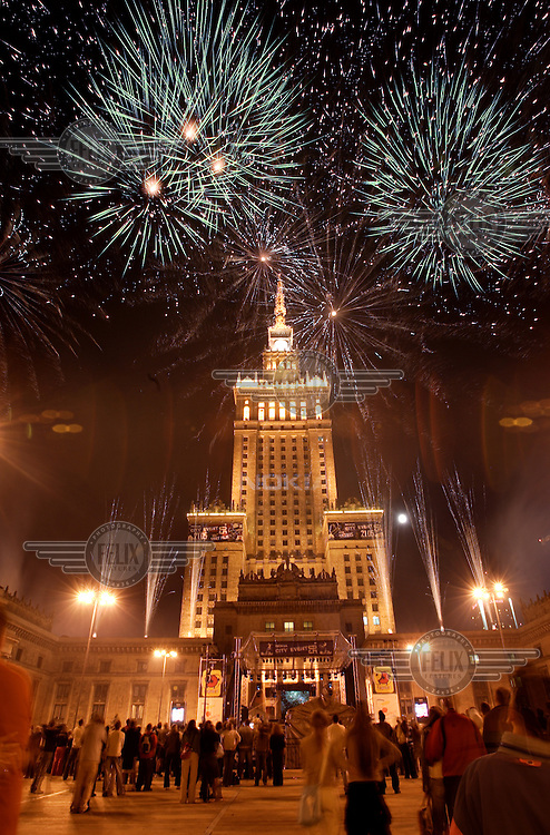 A sports and music event sponsored by the mobile telephone company Nokia, featuring a firework display beside the Soviet-built Palace of Culture..